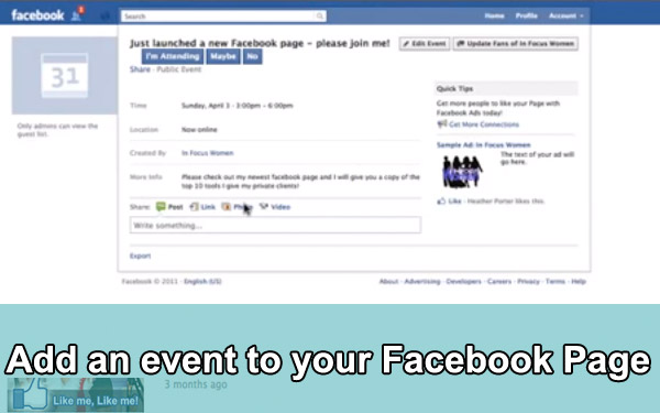 Add an event to your Facebook Page